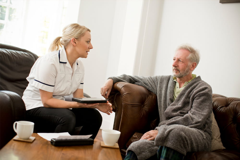 Man receiving home healthcare