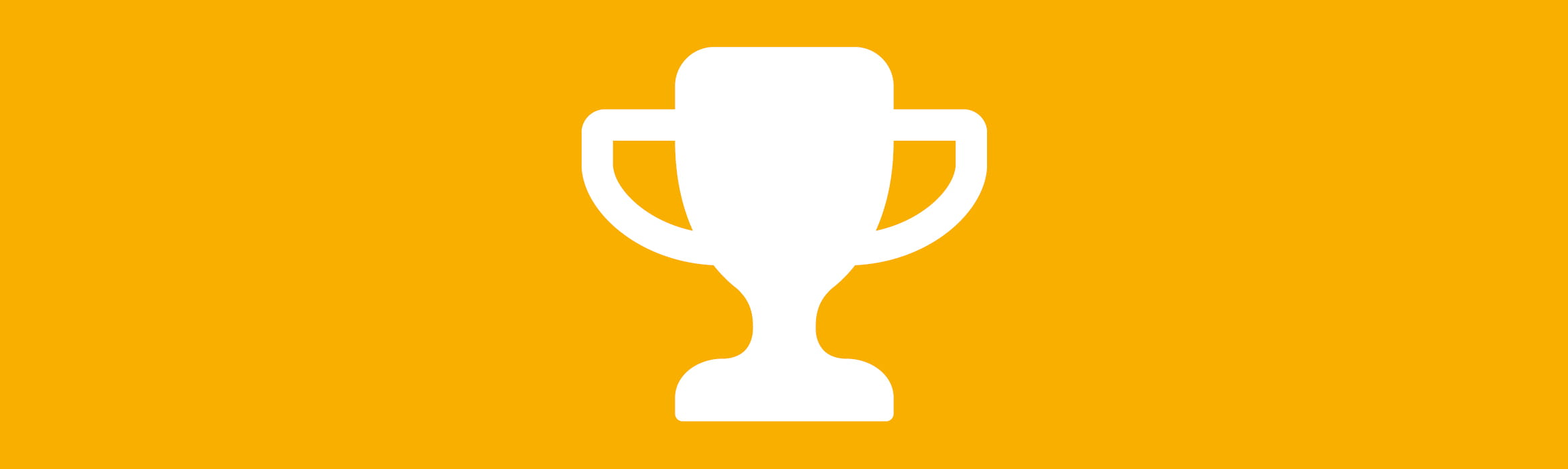 white trophy icon against an amber background