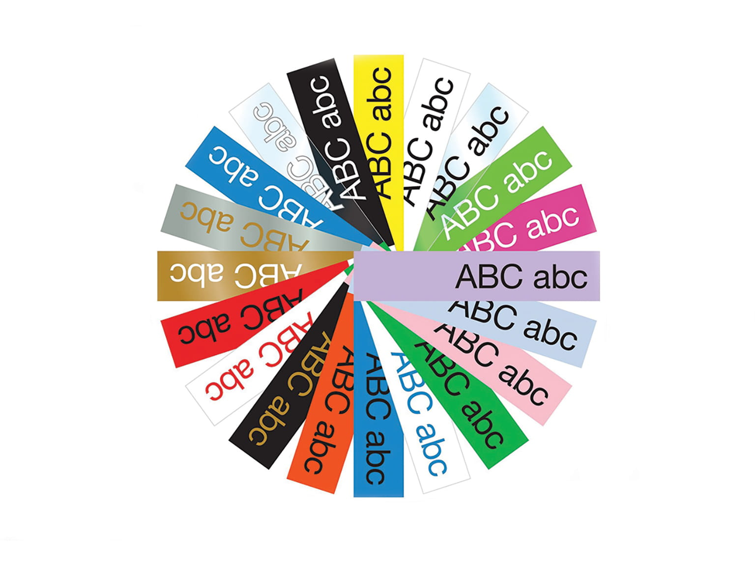Circular graphic showing the range of durable Brother TZe tapes available