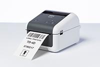 Brother TD-4410 desktop label printer with barcode printed on label