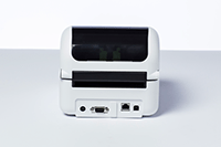 Back of Brother TD-4520 network desktop label printer showing network power vga ports