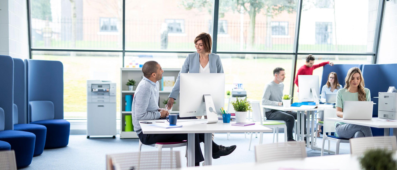 Bureau occupé par des hommes et des femmes assis travaillant à des bureaux, des plantes, des ordinateurs portables, des imprimantes, des chaises