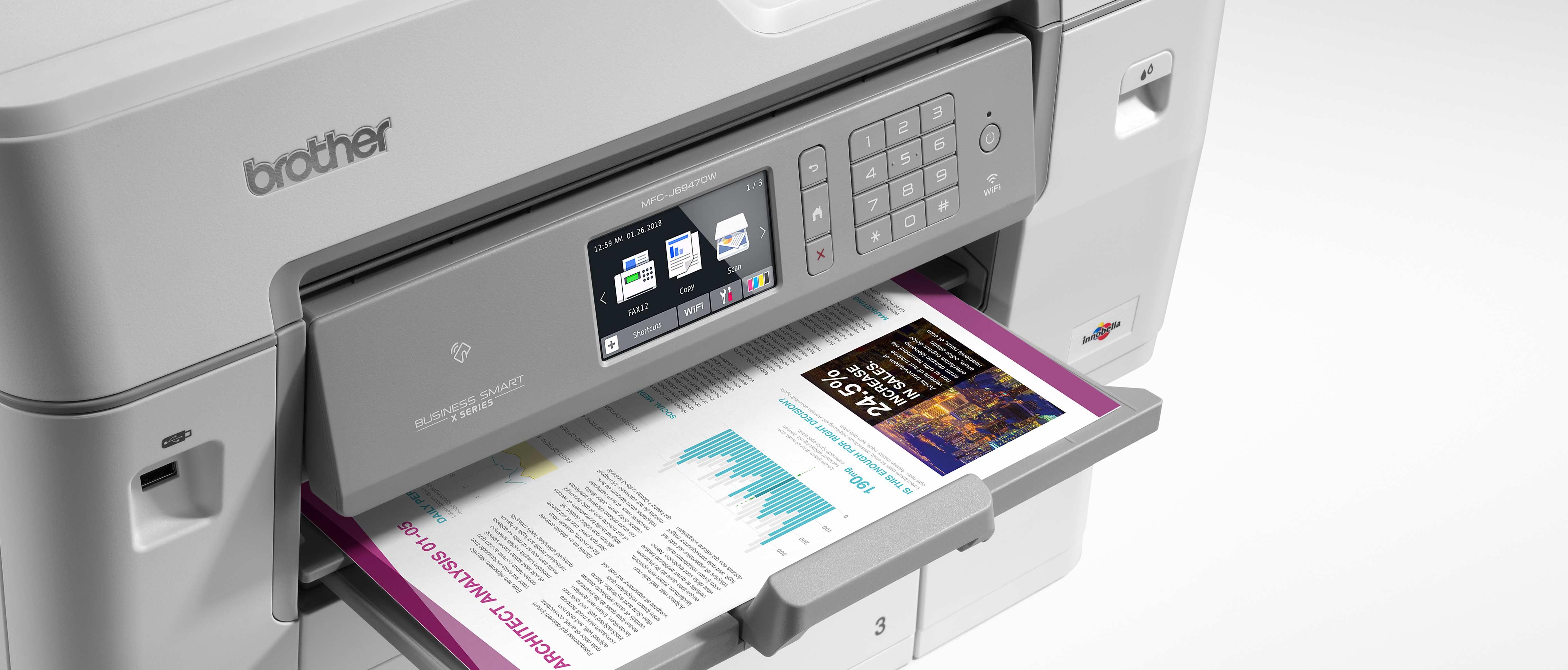 L'imprimante jet d'encre couleur MFC-J6947DW imprimant un document en couleur.