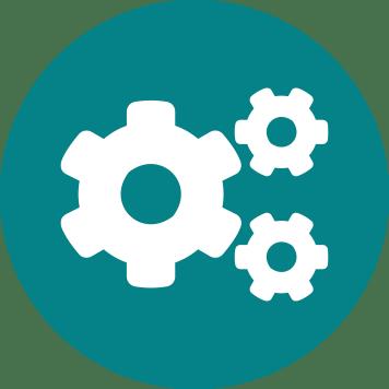 Icône de trois écrous blancs sur fond bleu vert - intégration