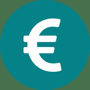 Sigle Euros blanc sur fond bleu vert - réduction des coûts
