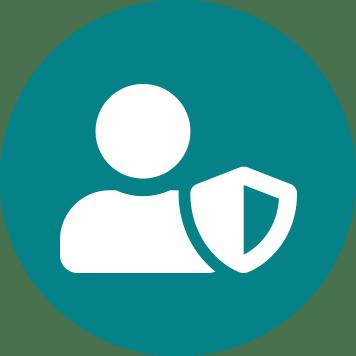 Icône représentant une personne et un bouclier blancs sur fond de bleu vert - sûreté - sécurité