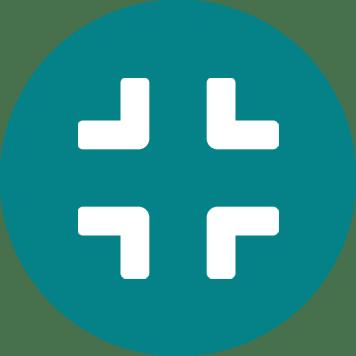 Icône de compresse blanc sur fond bleu vert - gain de place