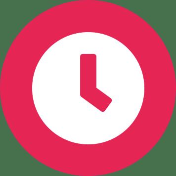 Icône d'horloge blanche sur fond rose - efficacité - temps