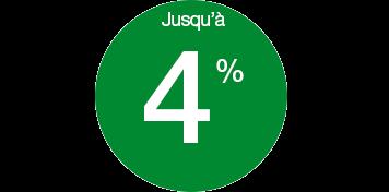 Jusqu'à 4%