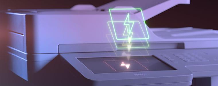 Imprimante couleur multifonction professionnelle Brother MFC-L9570CDW avec icône représentant un flash sur le dessus de l'écran tactile