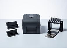 Imprimante d'étiquettes de bureau TD-4T avec coupe éplucheur et accessoires pour porte-rouleau externe