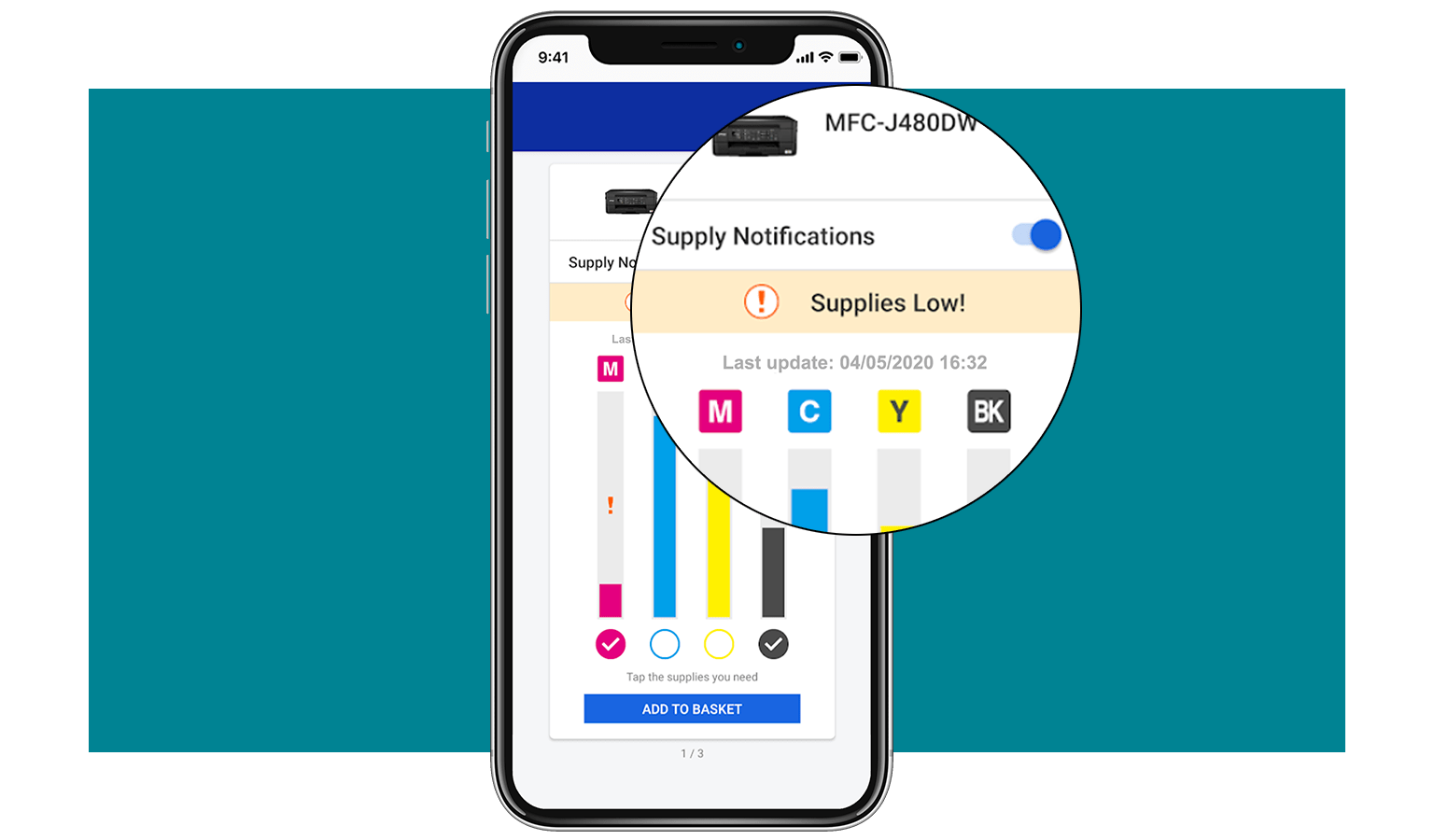 Recevez instantanément des notifications sur votre smartphone quand le niveau d'encre ou de toner de vos consommables est bas