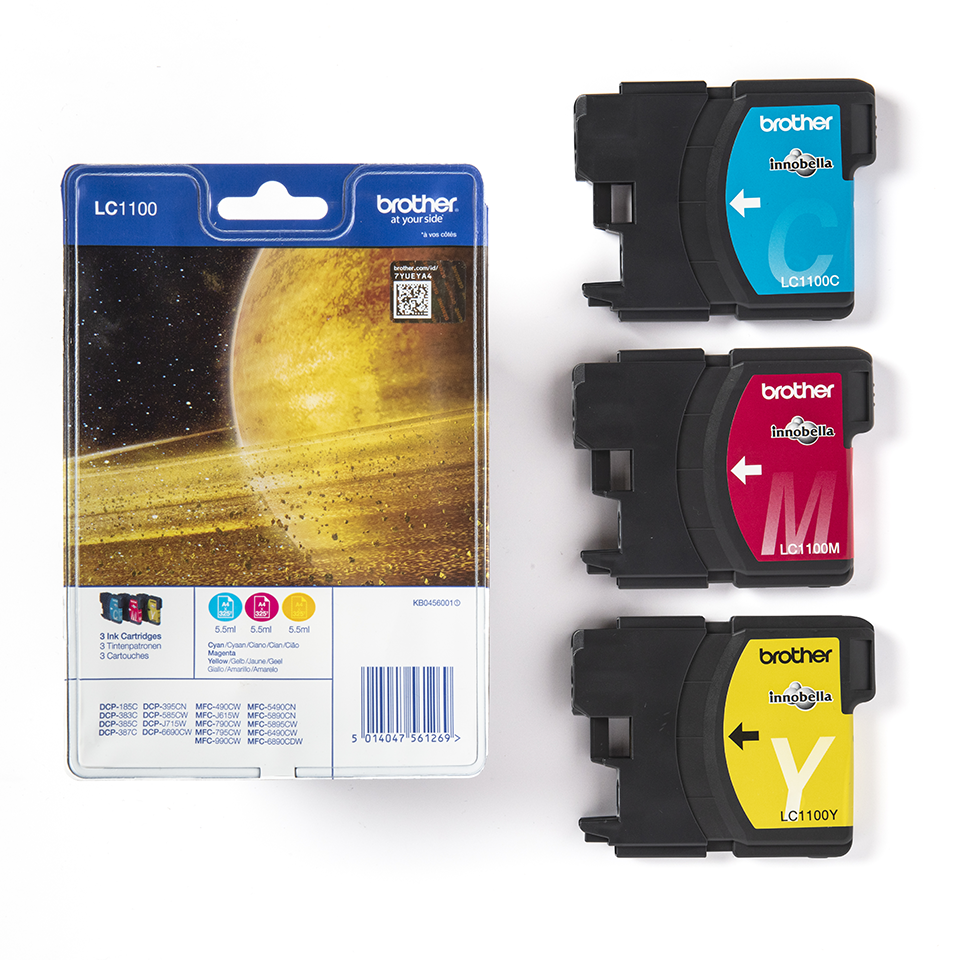 Pack de cartouches d'encre LC1100RBWBP Brother originales – Cyan, magenta et jaune 3