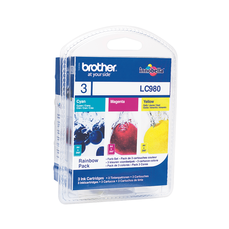Pack de cartouches d'encre LC980RBWBP Brother originales – Cyan, magenta et jaune