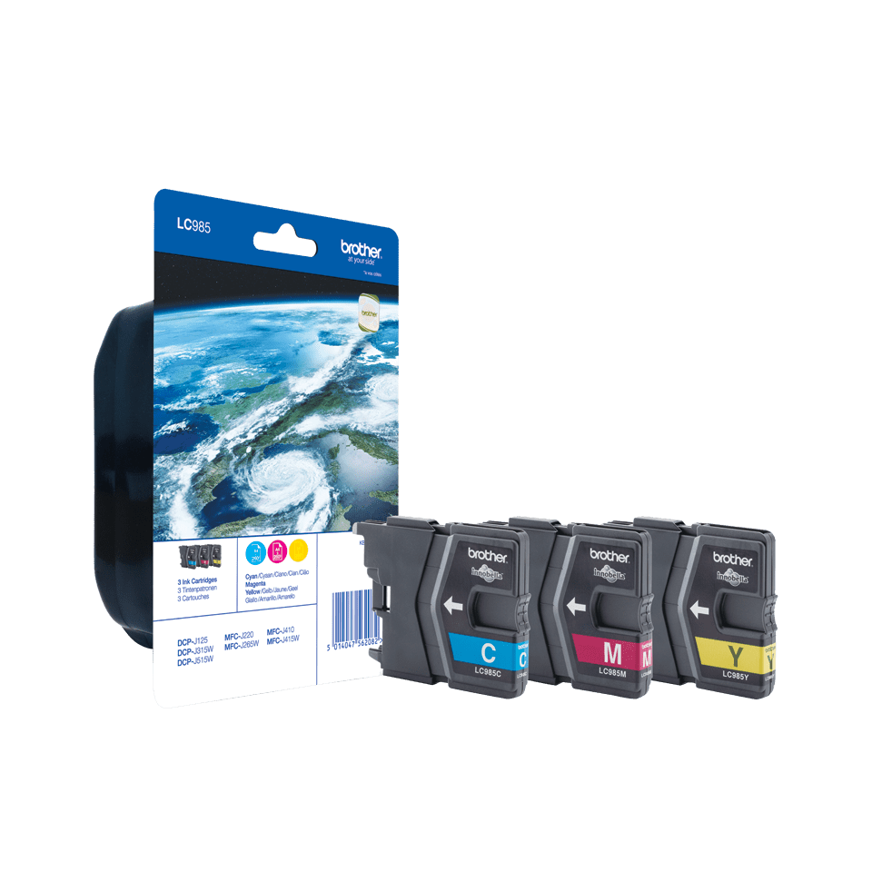 Pack de cartouches d'encre LC985RBWBP Brother originales – Cyan, magenta et jaune