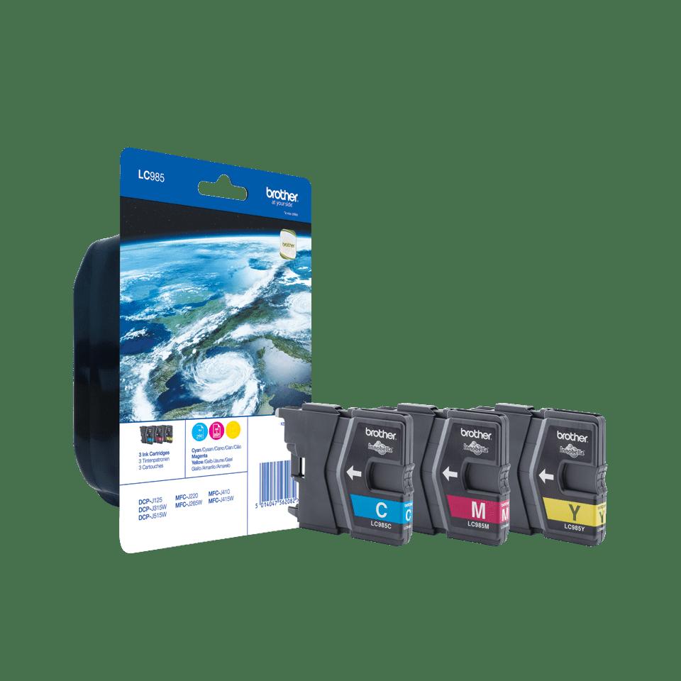 Pack de cartouches d'encre LC985RBWBP Brother originales – Cyan, magenta et jaune