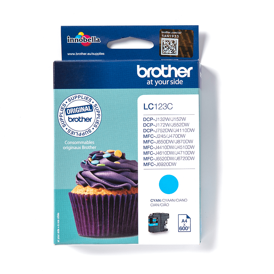 Cartouche d'encre LC123C Brother originale – Cyan