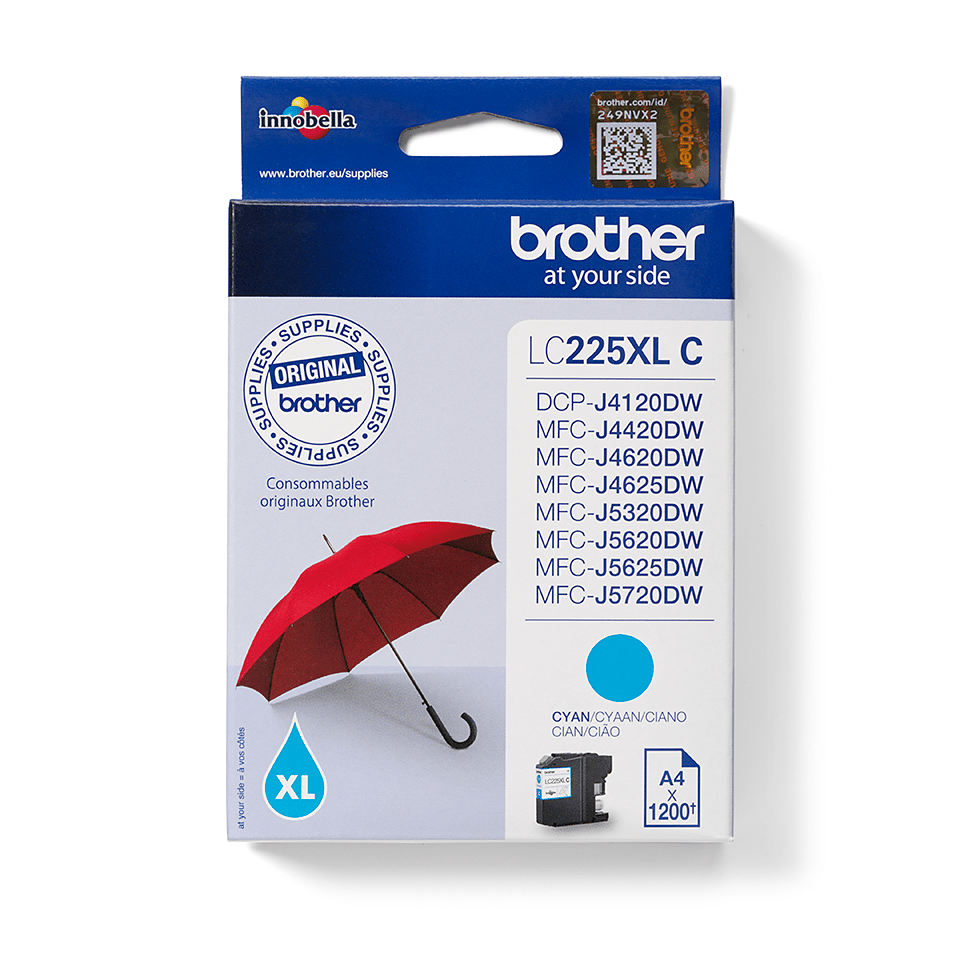 Cartouche d'encre LC225XLC Brother originale - Cyan