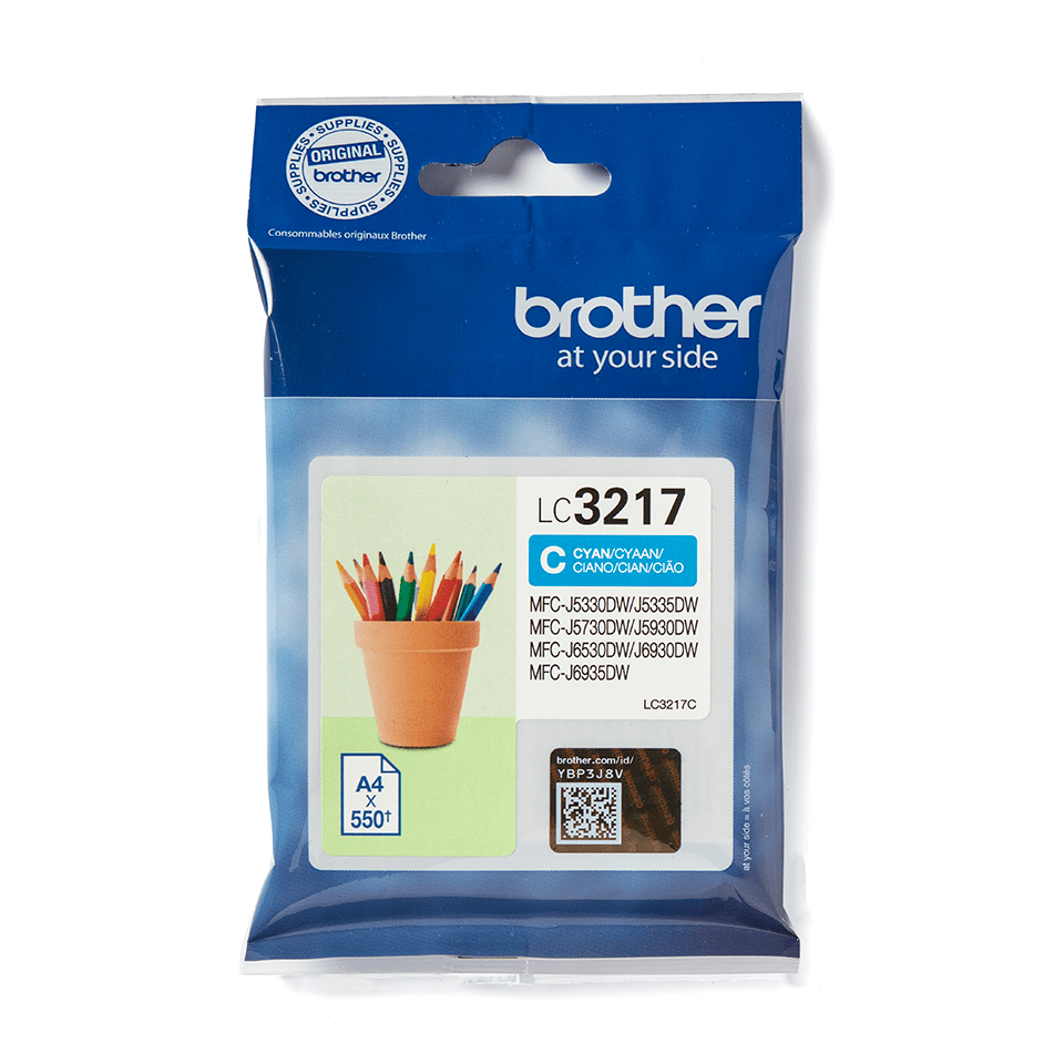 Cartouche d'encre LC3217C Brother originale – Cyan