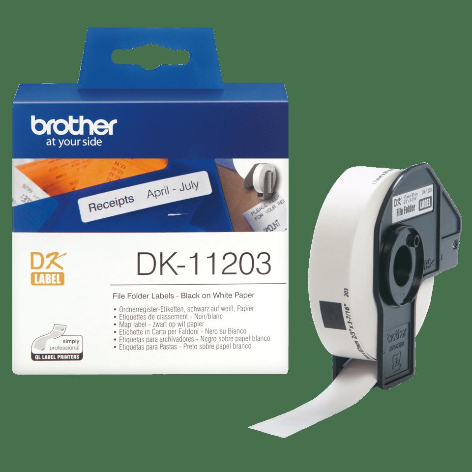 Rouleau d'étiquettes DK-11203 Brother original – Noir sur blanc, 17x87mm 2