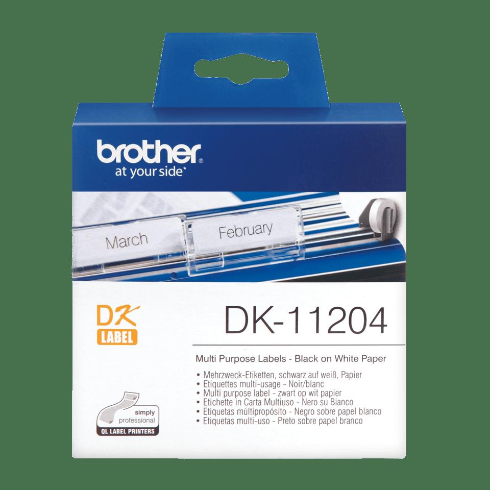 Rouleau d'étiquettes DK-11204 Brother original – Noir sur blanc, 17x54mm