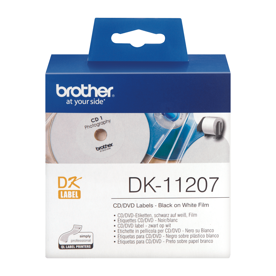 Rouleau d'étiquettes pour CD/DVD DK-11207 Brother original – Noir sur blanc, 58mm de diamètre.