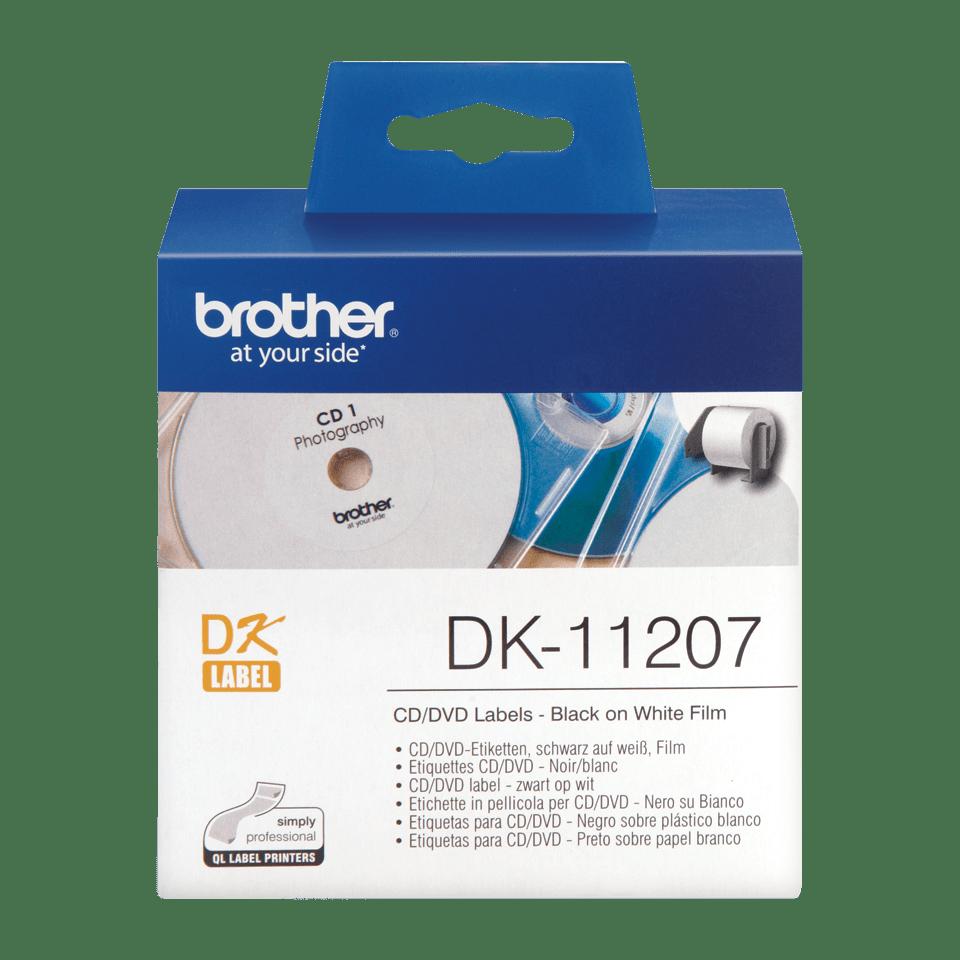 Rouleau d'étiquettes pour CD/DVD DK-11207 Brother original – Noir sur blanc, 58mm de diamètre. 0