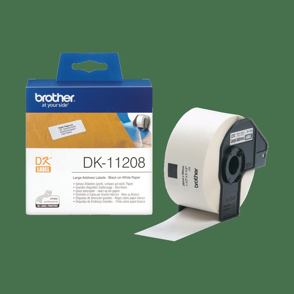 Rouleau d'étiquettes DK-11208 Brother original – Noir sur blanc, 38x90mm 3