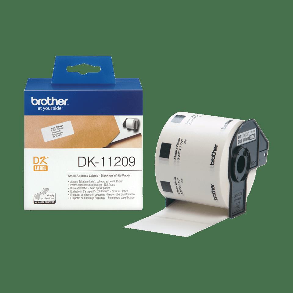 Rouleau d'étiquettes d'adresse DK-11209 Brother original – Noir sur blanc, 29x62mm 3