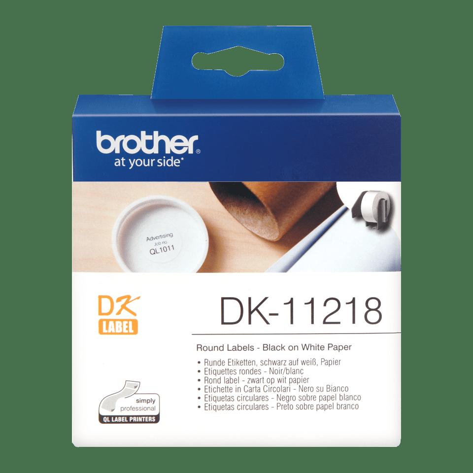 Rouleau d'étiquettes DK-11218 Brother original – Noir sur blanc, 24mm de diamètre 0