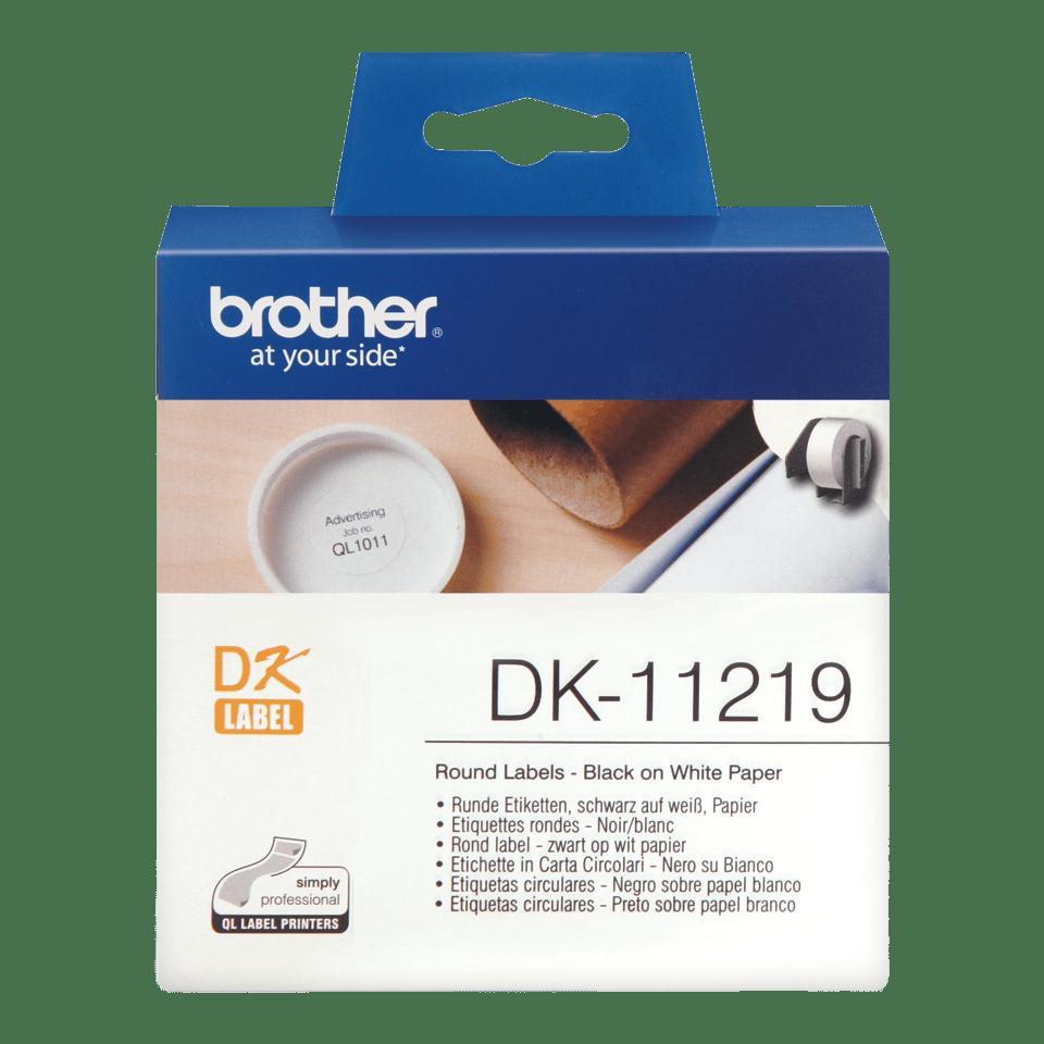 Rouleau d'étiquettes DK-11219 Brother original – Noir sur blanc, 12mm de diamètre 0