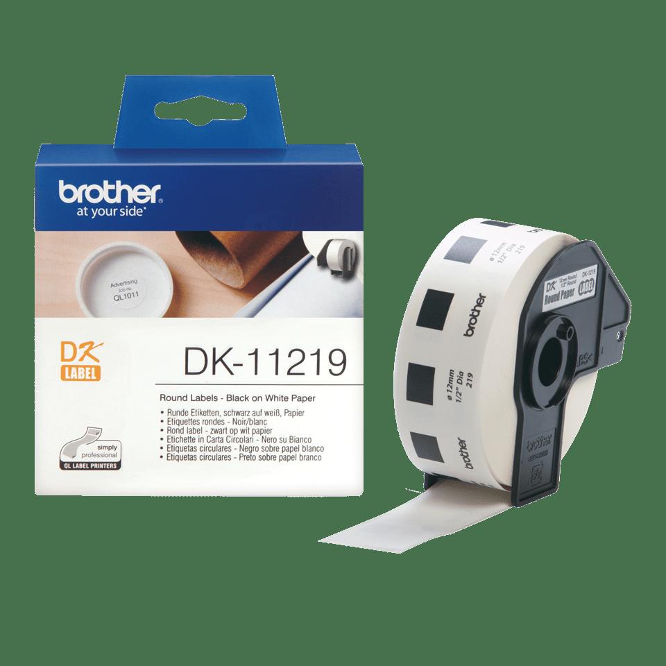 Rouleau d'étiquettes DK-11219 Brother original – Noir sur blanc, 12mm de diamètre 2