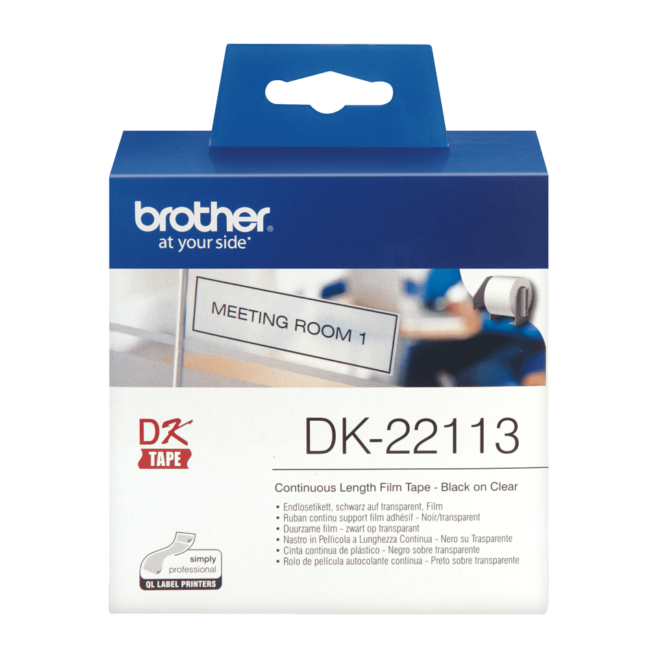 Rouleau de film continu DK-22113 Brother original – Noir sur transparent, 62 mm. 2