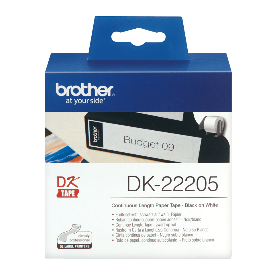 Rouleau de papier continu DK-22205 Brother original – Noir sur blanc, 62mm de large