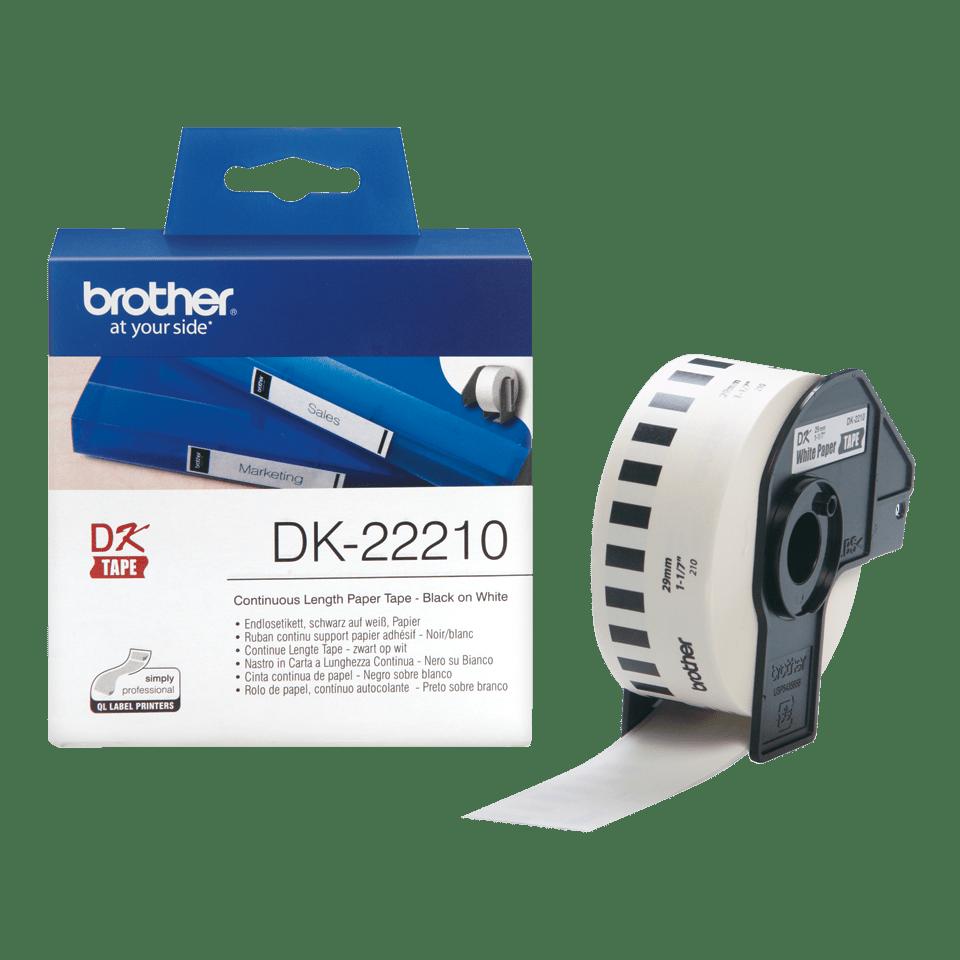 Rouleau de papier continu DK-22210 Brother original – Noir sur blanc, 29mm de large 3