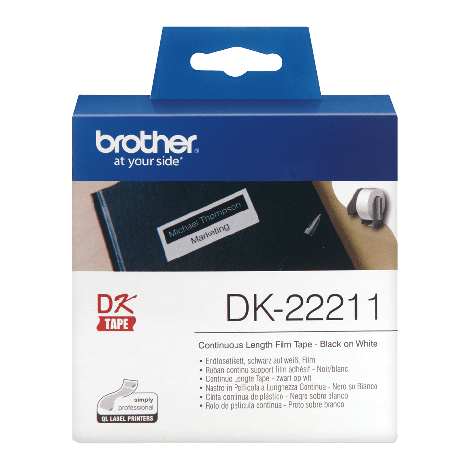 Rouleau d'étiquettes DK-22211 Brother original – Blanc, 29 mm x 15,24 m