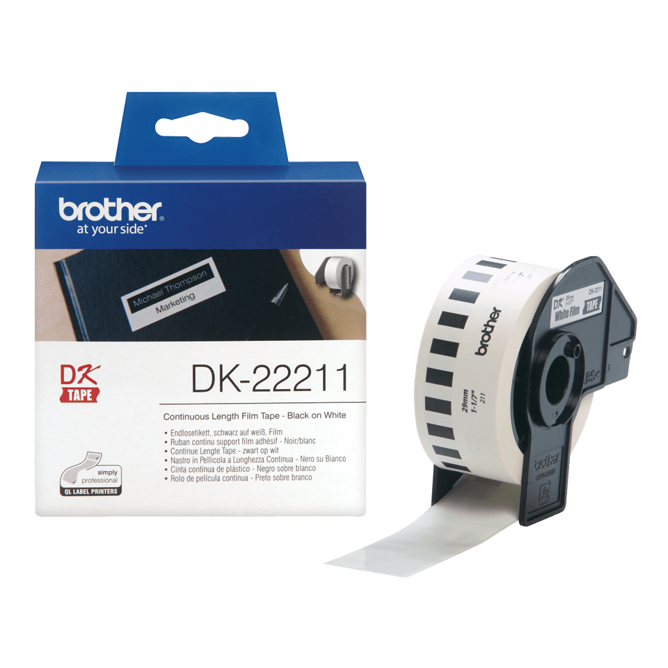 Rouleau d'étiquettes DK-22211 Brother original – Blanc, 29 mm x 15,24 m  3