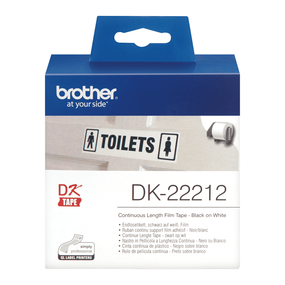 Rouleau de film continu DK-22212 Brother original – Noir sur blanc, 62 mm