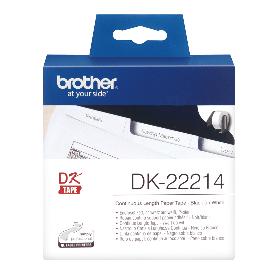 Rouleau de papier continu DK-22214 Brother original – Noir sur blanc, 12 mm de large
