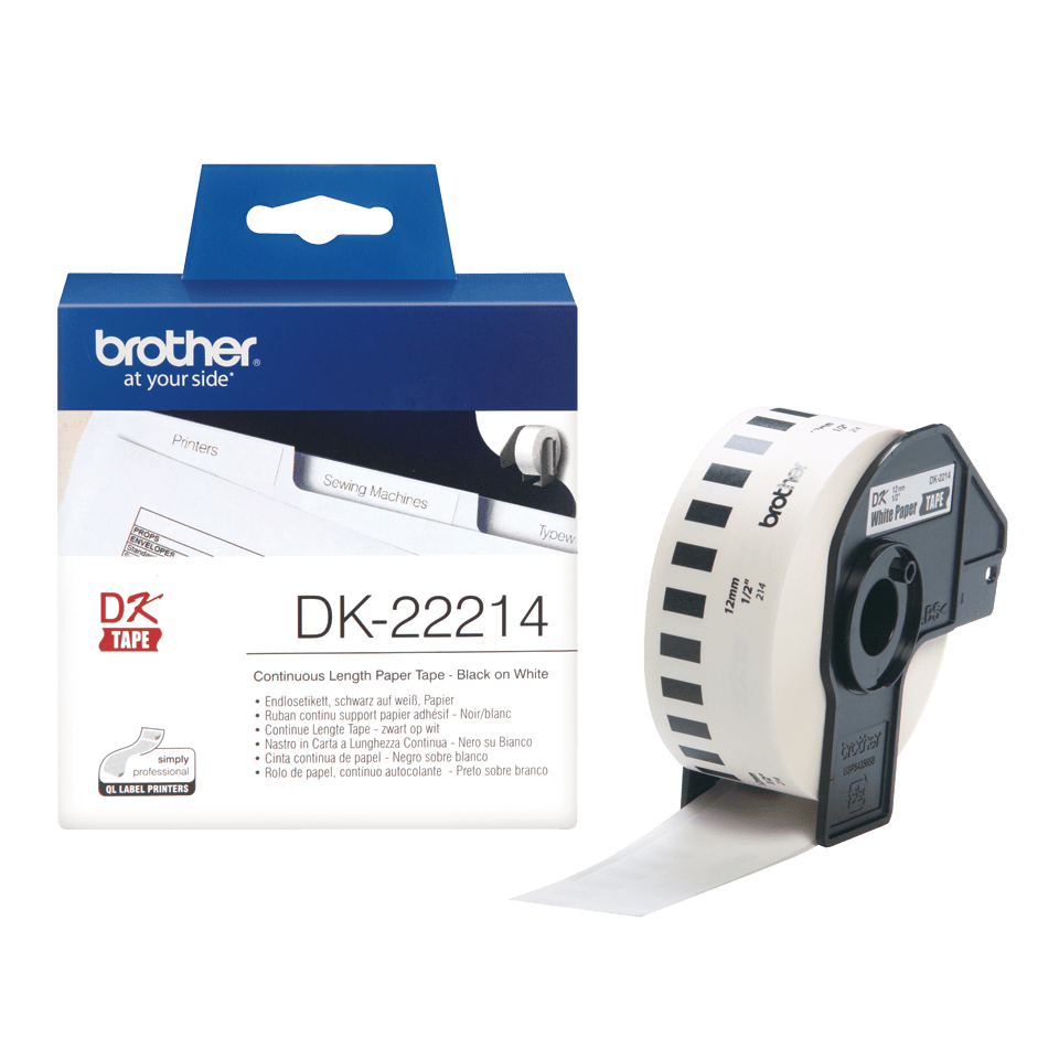 Rouleau de papier continu DK-22214 Brother original – Noir sur blanc, 12 mm de large 3