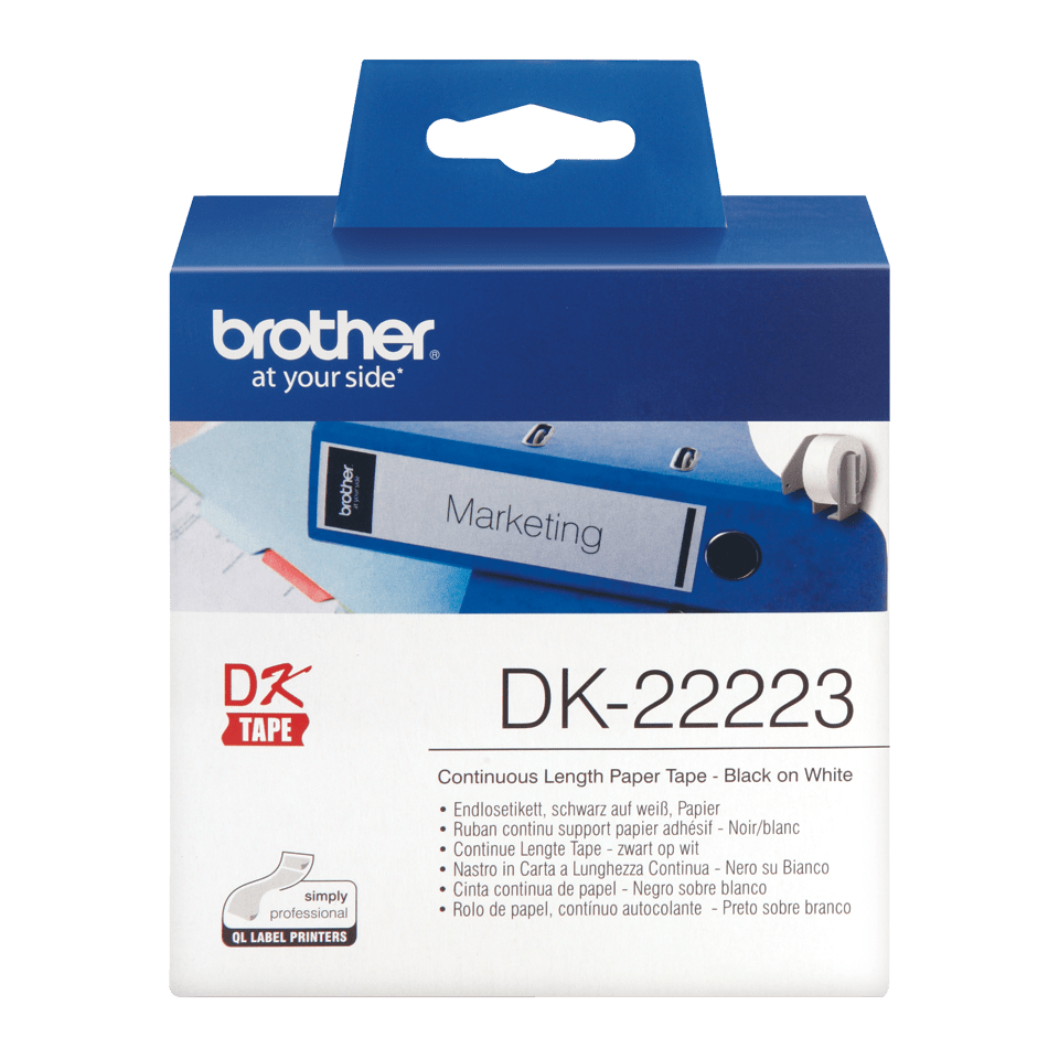 Rouleau de papier continu DK-22223 Brother original – Noir sur blanc, 50 mm de large 0