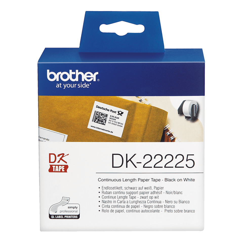 Rouleau de papier continu DK-22225 Brother original – Noir sur blanc, 38 mm de large 2