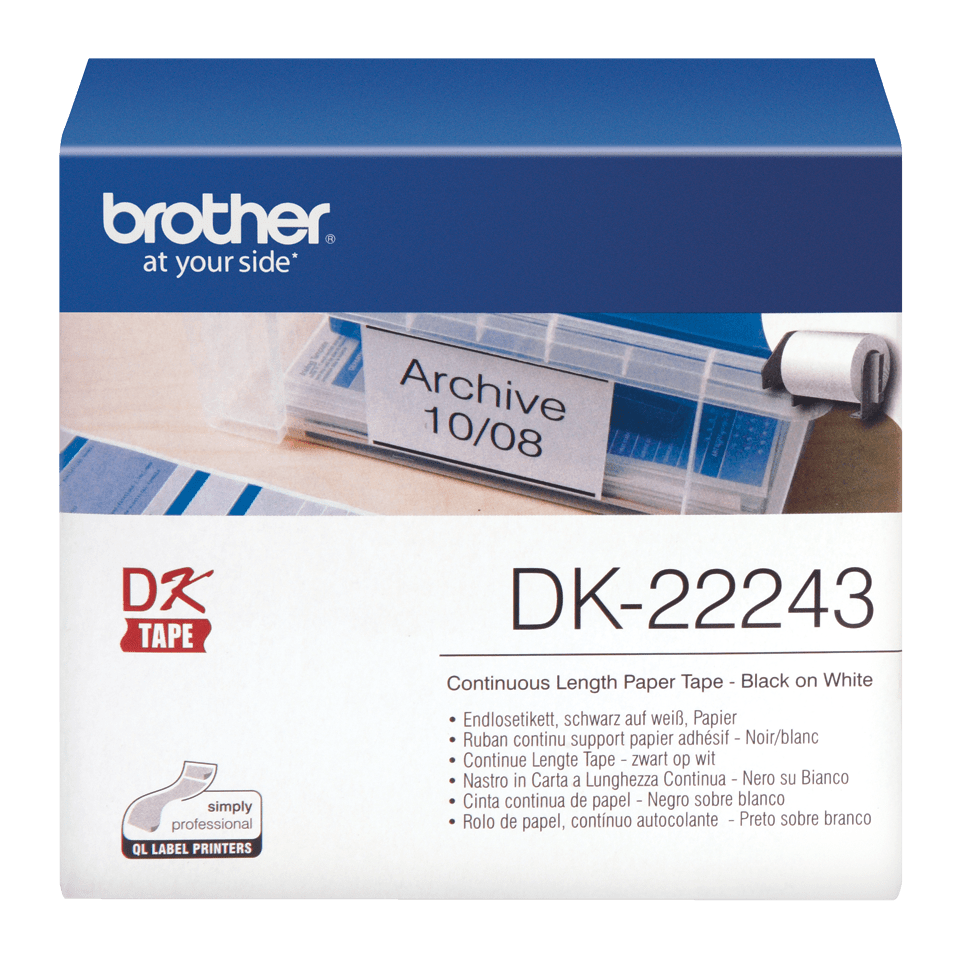 Rouleau de papier continu DK-22243 Brother original – Noir sur blanc, 102 mm de large 0