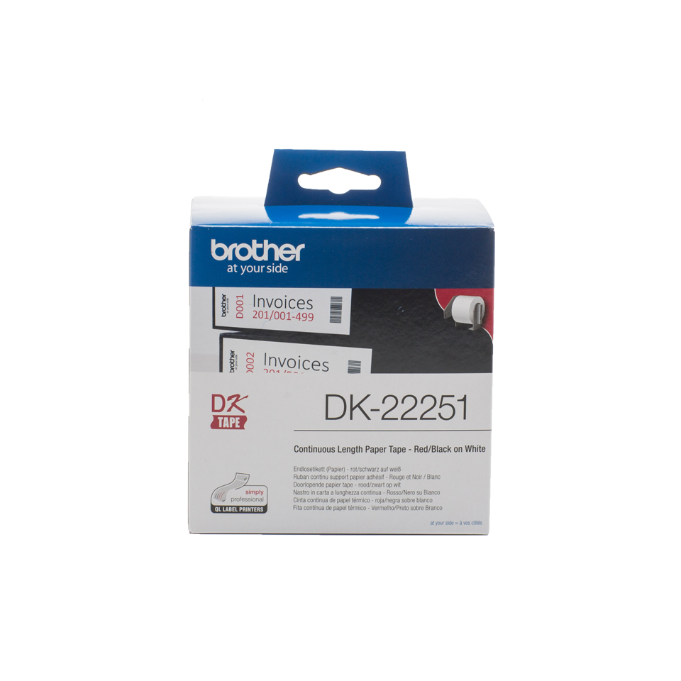 Rouleau de papier continu DK-22251 Brother original – Noir et rouge sur blanc, 62mm