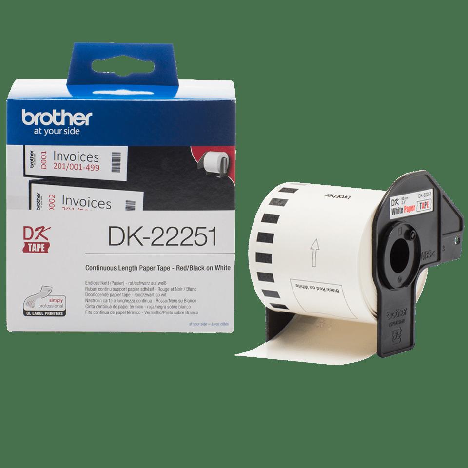 Rouleau de papier continu DK-22251 Brother original – Noir et rouge sur blanc, 62mm 3