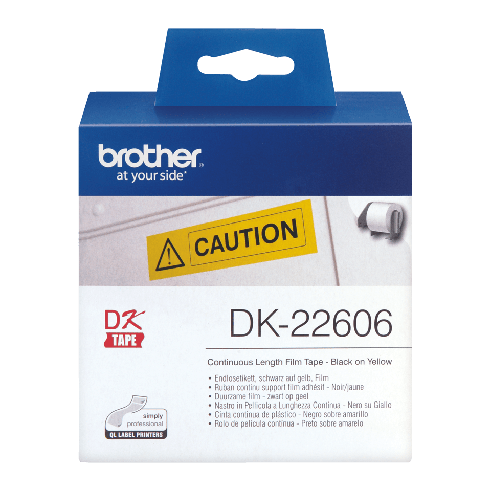 Ruban film continu DK-22606 Brother original – Noir sur jaune, 62 mm de large 2