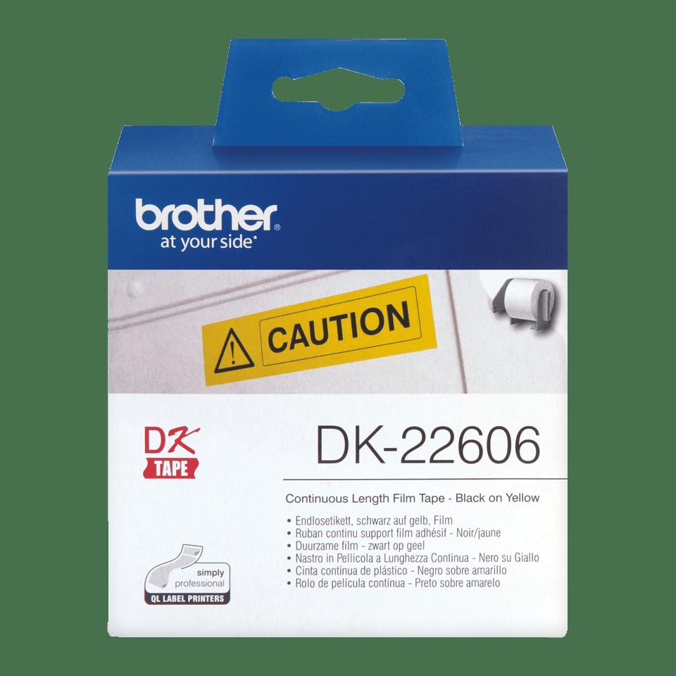 Ruban film continu DK-22606 Brother original – Noir sur jaune, 62mm de large