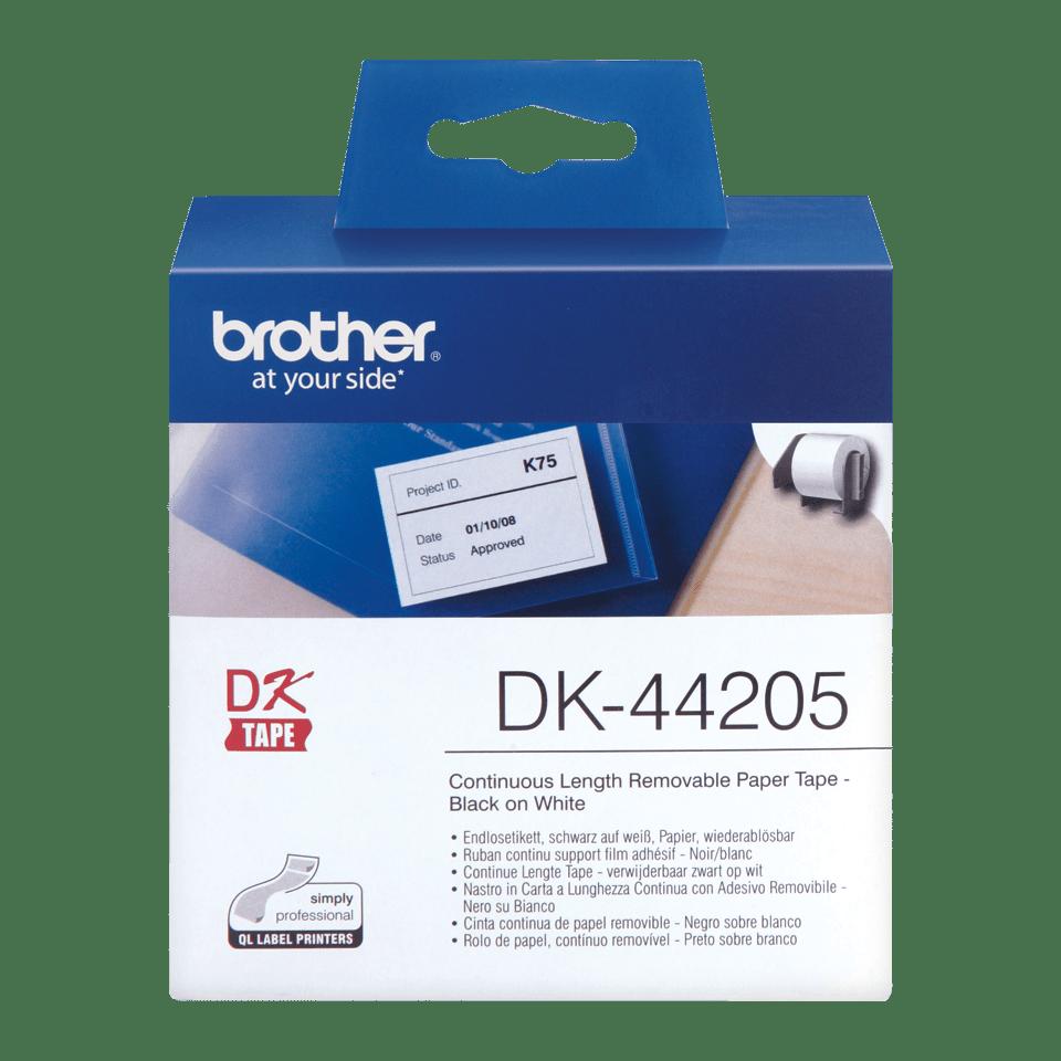 Rouleau de papier amovible DK-44205 Brother original – Noir sur blanc, 62mm de large