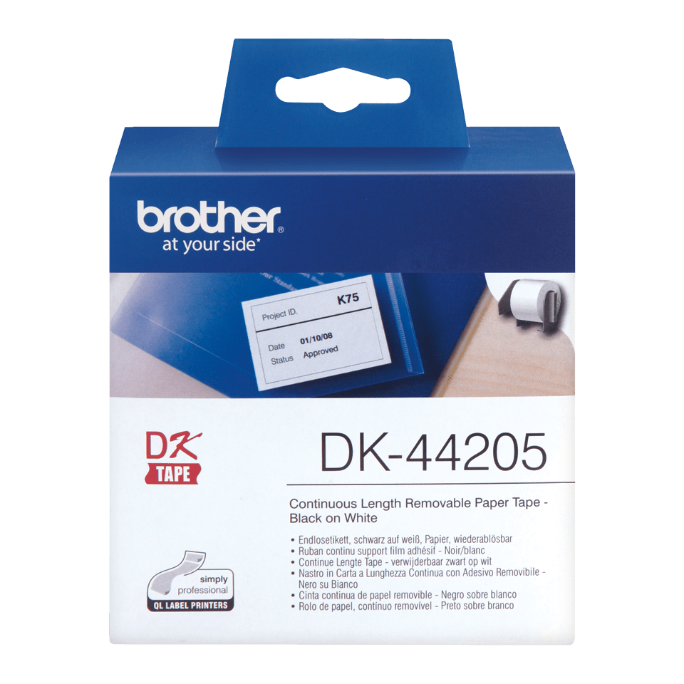 Rouleau de papier amovible DK-44205 Brother original – Noir sur blanc, 62 mm de large