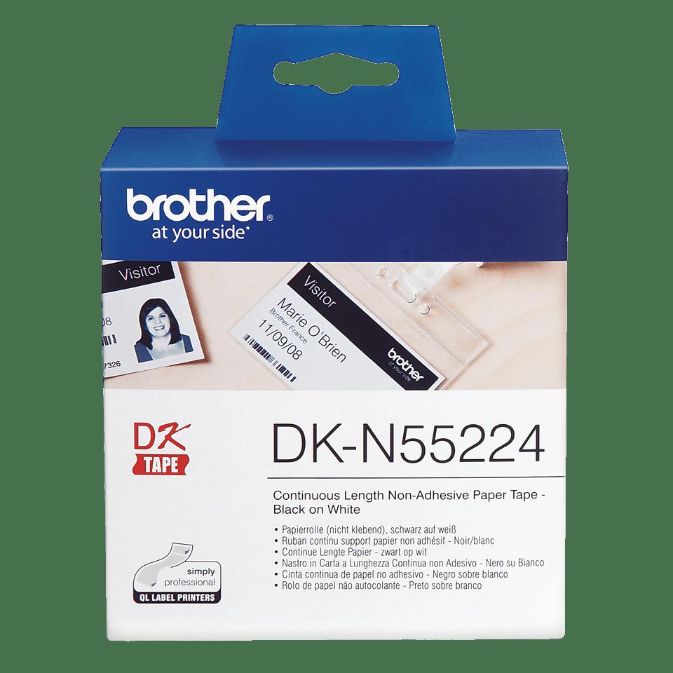 Rouleau de papier continu sans adhésif DK-N55224 Brother original – Noir sur blanc, 54mm